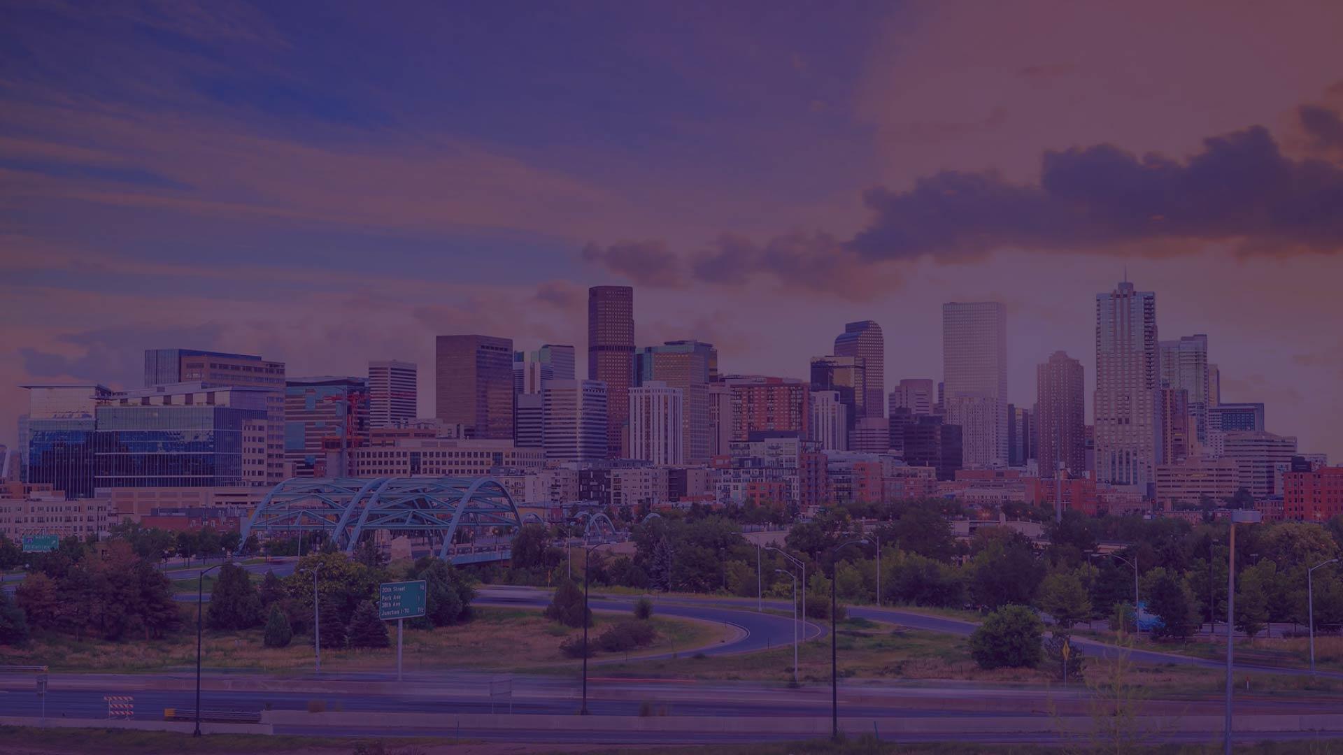Denver city skyline purple overlay